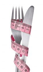 Measuring,Tape,Wrapped,Around,A,Fork,And,A,Knife,Isolated